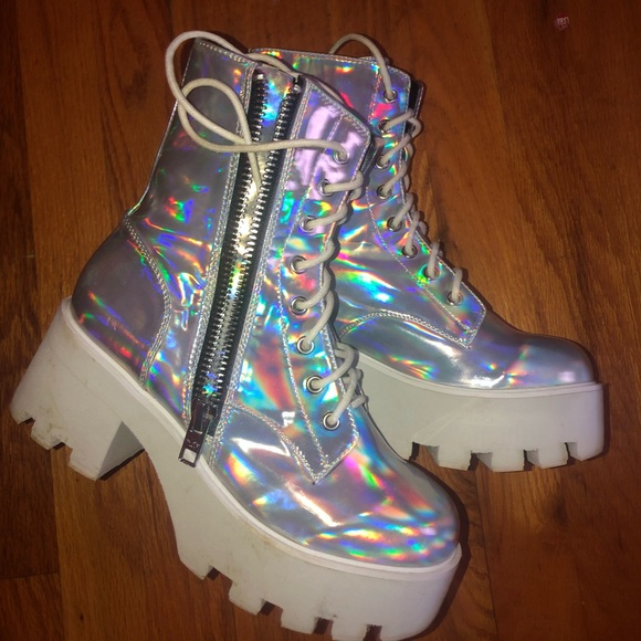 0d9acc65202 Dolls Kill Shoes - Holographic Boots